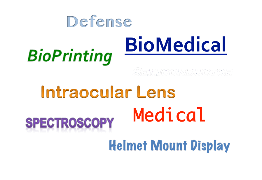 Markets served by Photon Engineering - defense, biomedical, bioprinting, intraocular lens, medical, spectroscopy, helmet mounted display
